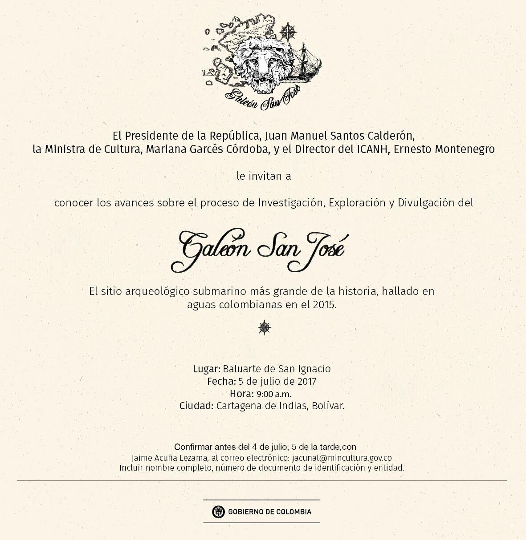 Invitación del 5 de julio para dar a conocer avances de la investigación, exploración y divulgación de la extracción del Galeón San José